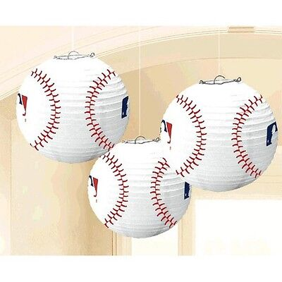 MLB BASEBALL PAPER LANTERNS (3) ~ Birthday Party Supplies Decorations Sports