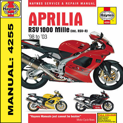 Aprilia RSV1000 Mille 1998- 2003 Haynes Manual 4255 NEW