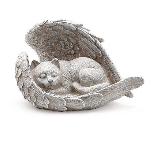 Cat Sleeping in Angel Wings Pet Memorial Statue