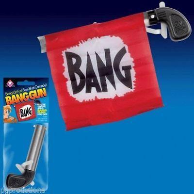 Bang Gun With Flag   Clown Comedy Prop Magic Trick Toy Red Pistol Gag Joke Funny