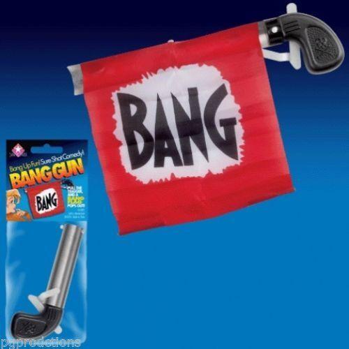 Bang Gun With Flag - Clown Halloween Prop Magic Toy Red Pistol Gag Joke Funny