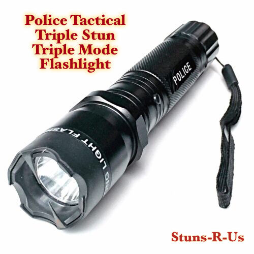 Metal Police Stun Gun 75 Million Volt  Rechargeable LED Flashlight + Taser Case