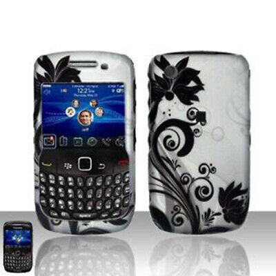 For BlackBerry Curve 8530 Rubberized Snap on Hard Case Phone Case Black Vines (Blackberry Curve Rubber Cases)