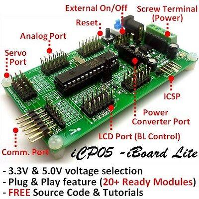 Icp05 - Iboard Lite Microchip 28pin Pic16f722 Plug Play Development Board