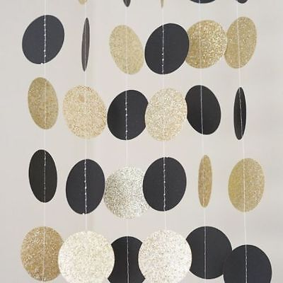 10 FT Black and Gold Glitter Circle Polka Dots Paper Garland Party Decor Banner