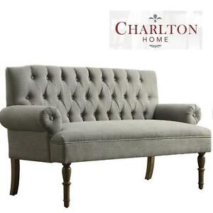 NEW CH TUFTED UPHOLSTERED SETTEE - 118251085 - CHARLTON HOME SOFA GREY
