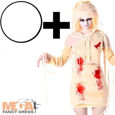 Zombie Mummy + Facepaint Ladies Fancy Dress Egyptian Adults Halloween Costume ](Zombie Mummy Halloween Costumes)