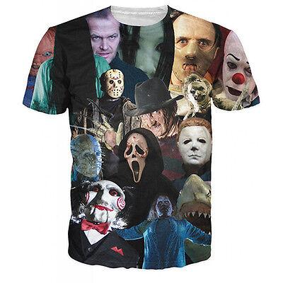 Horror Movie Walking Dead Zombie Men Women Halloween 3d Graphic Crew T-shirt Tee
