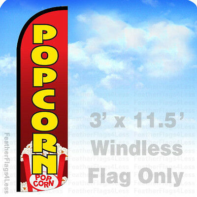 Popcorn - Windless Swooper Feather Flag 3x11.5 Banner Sign - Rq