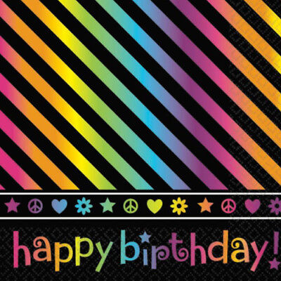 Neon Doodle Party Supplies (NEON DOODLE HAPPY BIRTHDAY LUNCH NAPKINS (16) ~ Party Supplies Serviettes)