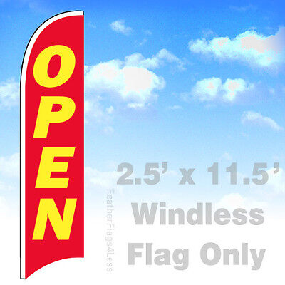 Open - Windless Swooper Flag 2.5x11.5 Feather Banner Sign Flag - Rb