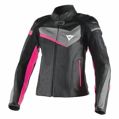 NEW Dainese Veloster Womens Leather Jacket Blk/Anthracite/Fuchsia L 48 EU 10 US  for sale  Shipping to Canada