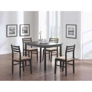 Transitional 5-Piece Dining Set - Espresso Brown