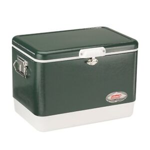 NEW Coleman Steel Belted Portable Cooler 54 Quart Olive Green FREE SHIPPING