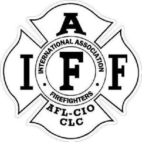 4 Inch Reflective IAFF White Firefighter Maltese Cross Firefighter Sticker