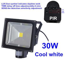 30W & 50W LED Floodlight Flood Light With PIR Motion Sensor, Cool White, Security Garden Driveway