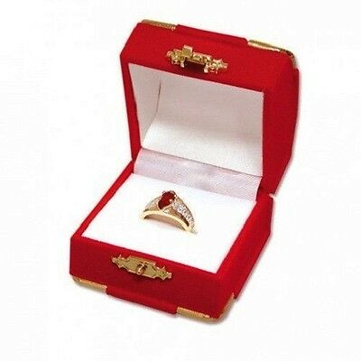 Red Velvet Ring Gift Boxes w/ Brass Accents Wholesale 1 2 6 12 24 48 96 144 pcs - Red Gift Boxes