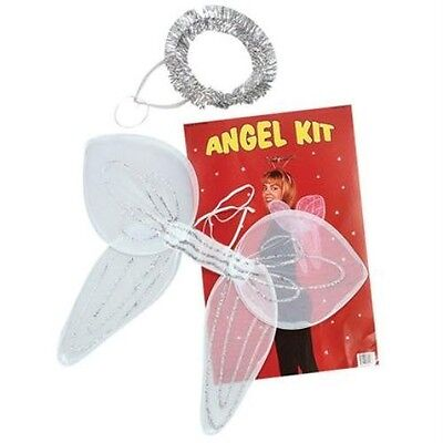 Angel Set White Wings and Silver Christmas Xmas Halo Fancy Dress Accessory P1980 (Angel Wings And Halo Set)