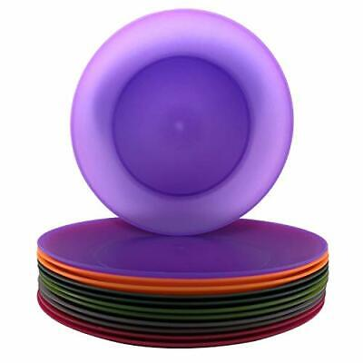Dinner Plates Plastic Reusable BPA Free Dishwasher Safe Assorted Colors 12 Pack