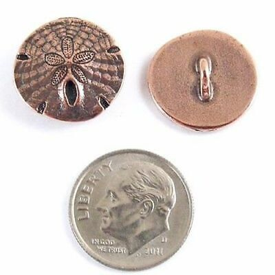 Copper Sand Dollar Buttons, TierraCast Leather Clasp, Shank Back (2 Pieces) ()