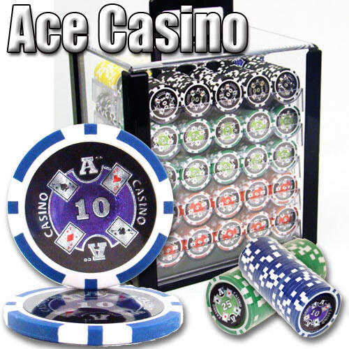 NEW 1000 PC Ace Casino 14 Gram Clay Poker Chips Acrylic Case Set Pick Chips