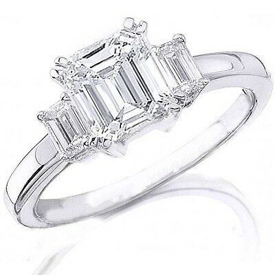 New 3.05 Ct 3 Stone Emerald Cut Diamond Engagement Ring H,VVS1 GIA 14K