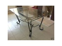 Wrought Iron & Glass Topped Dining Table with 6 chairs