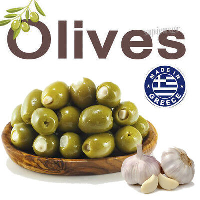 - OLIVES STUFFED WITH GARLIC 90g - 480g FRESH ORGANIC GREEK - OIL EXTRA VIRGIN !