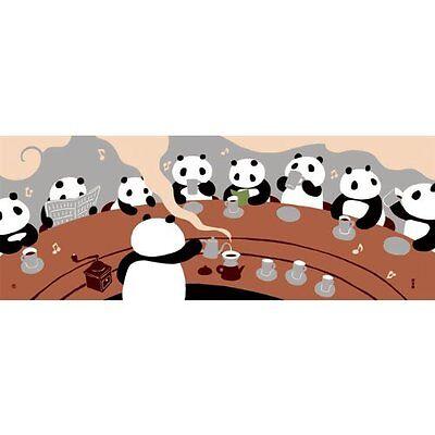 Hamamonyo Nassen Tenugui Towel Panda Cafe Beige Color
