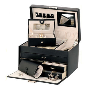 MELE & CO. BLACK BONDED LEATHER JEWELLERY BOX WITH TRAVEL CASE & JEWEL ROLL