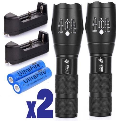 AAA Battery Charger UK Ultrafire 60000LM Zoom Tactical T6 LED Flashlight 18650