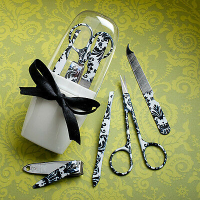 Damask Party Favors (6 Pretty Black Damask Manicure Sets Wedding Favors Party Bridal Bridesmaid)