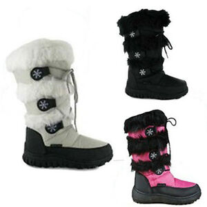 LADIES-WINTER-FUR-SNOW-BOOTS-MOON-MUCKER-WATERPROOF-WELLIES-SHOES-SIZE-3-8UK
