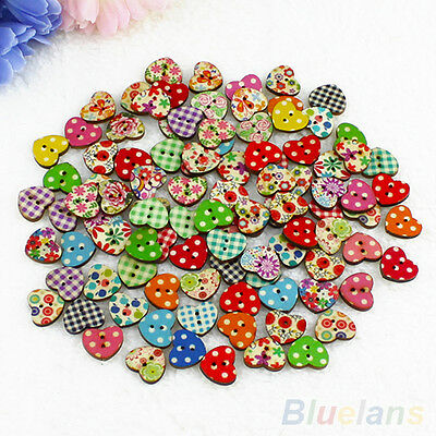 - 100 Multicolor Heart Shape 2 Holes Wood Sewing Buttons Scrapbooking Knopf Bouton