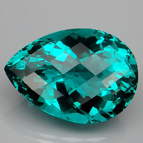 28.6CT. BEAUTEOUS!!! PARAIBA GREEN APATITE PEAR WITH CHECKERBOARD TABLE