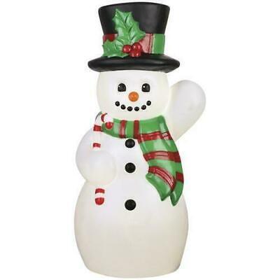 "24"" Small Prelit Vintage Snowman Blow Mold Lighted Porch Yard Christmas Decor"
