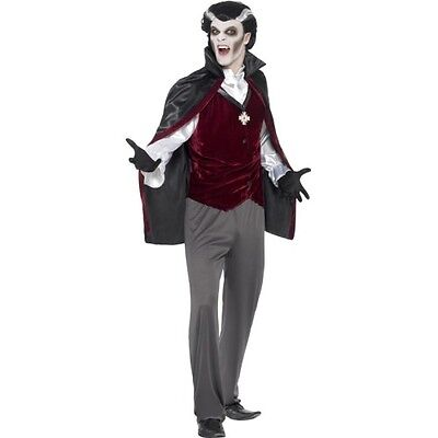 Mens Deluxe Vampire Costume Halloween Cape Shirt Gloves Medal Pants Adult L XL - Vampire Mens Halloween Costumes