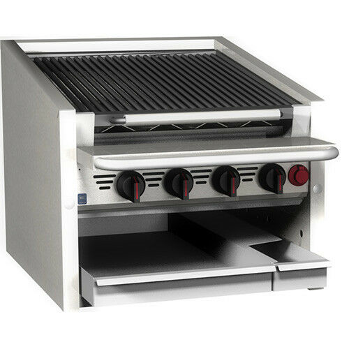 "MagiKitchn CM-SMB-630 30"" Stainless Steel Gas Charbroiler w/ Ceramic Coal Screen"