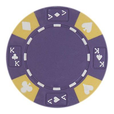 Ace King Poker Chips - Ace King Suited Non-Denominated 14g Poker Chips, Purple, 50-pack