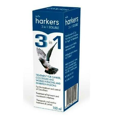 Harkers 3 in 1 Soluble 100ml Pigeon Prevention of Coccidiosis Canker and Worms