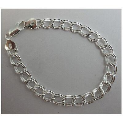 Charm Double Link Bracelet. Sterling Silver .925 Italian.  6,7, 8 inch available Double Link Link Bracelet