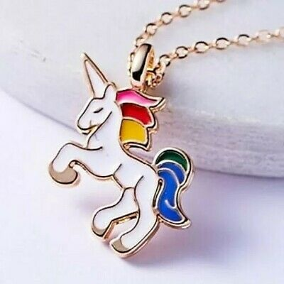 Jewellery - Unicorn Pendant Necklace Chain Kids Girls Jewellery Party Gifts Gold White Cute