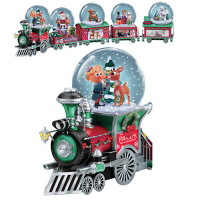 Disney RUDOLPH Holiday Express Musical Snowglobe TRAIN Collection Set of 5 NEW