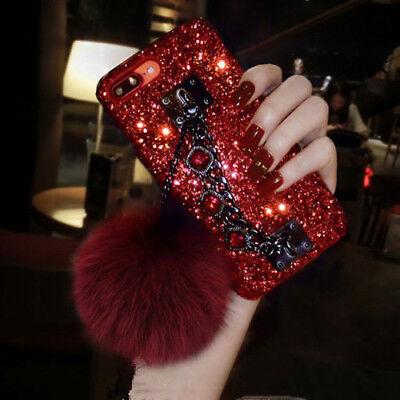 Bling Glitter Diamond Bracelet Plush Ball Case Cover For iPhone Xs Max 8 7 Plus Bling Ball Bracelets