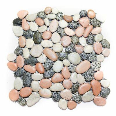 Glazed Mixed Pink Grey White Pebble Stone Tile - River Rock Natural - -