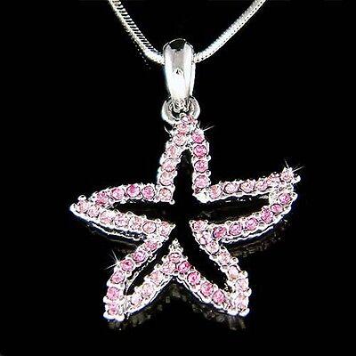 Seestern Pink (Pink Seestern mit Swarovski Kristall Ozean Seestern Strandhochzeit Halskette)