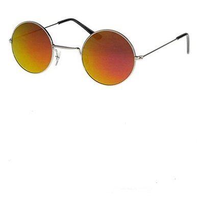John Lennon Type Round Sunglasses 4.5cm Orange Mirrored Lensses Silver Frame