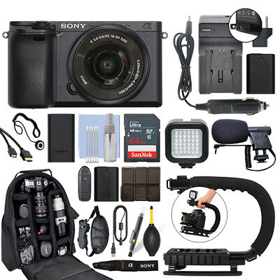 Sony Alpha a6500 Mirrorless Digital Camera with 16-50mm Lens+ 64GB Pro Video Kit Digital Camera Pro Kit