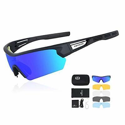 Gafas de Ciclismo Polarizadas con 5 Lentes Intercambiables (Black blue)