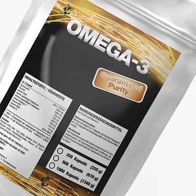 250-1000 Omega 3 Softgel Kapseln á 1000mg 12% DHA / 18% EPA Fischöl TOP Qualität - Omega 3 Dha Kapseln